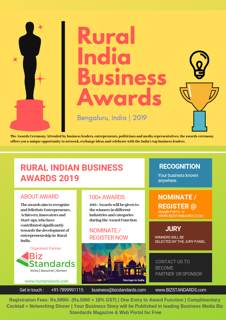 Register for RURAL INDIA BUSINESS AWARDS 2019